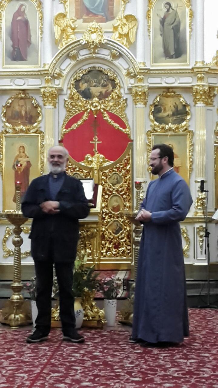 don Gaetano Castello e padre Mykhailo Povaliaiev nella Chiesa Ortodossa Russa di Napoli