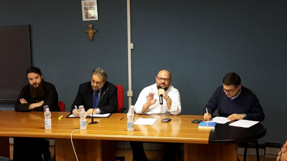 Da destra verso sinistra: Padre Edoardo Scognamiglio, Michele Giustiniano, Leonardo Magrì, Padre Nicodim Burcea
